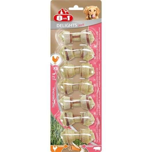 8in1 Delights Pork Kauknochen XS